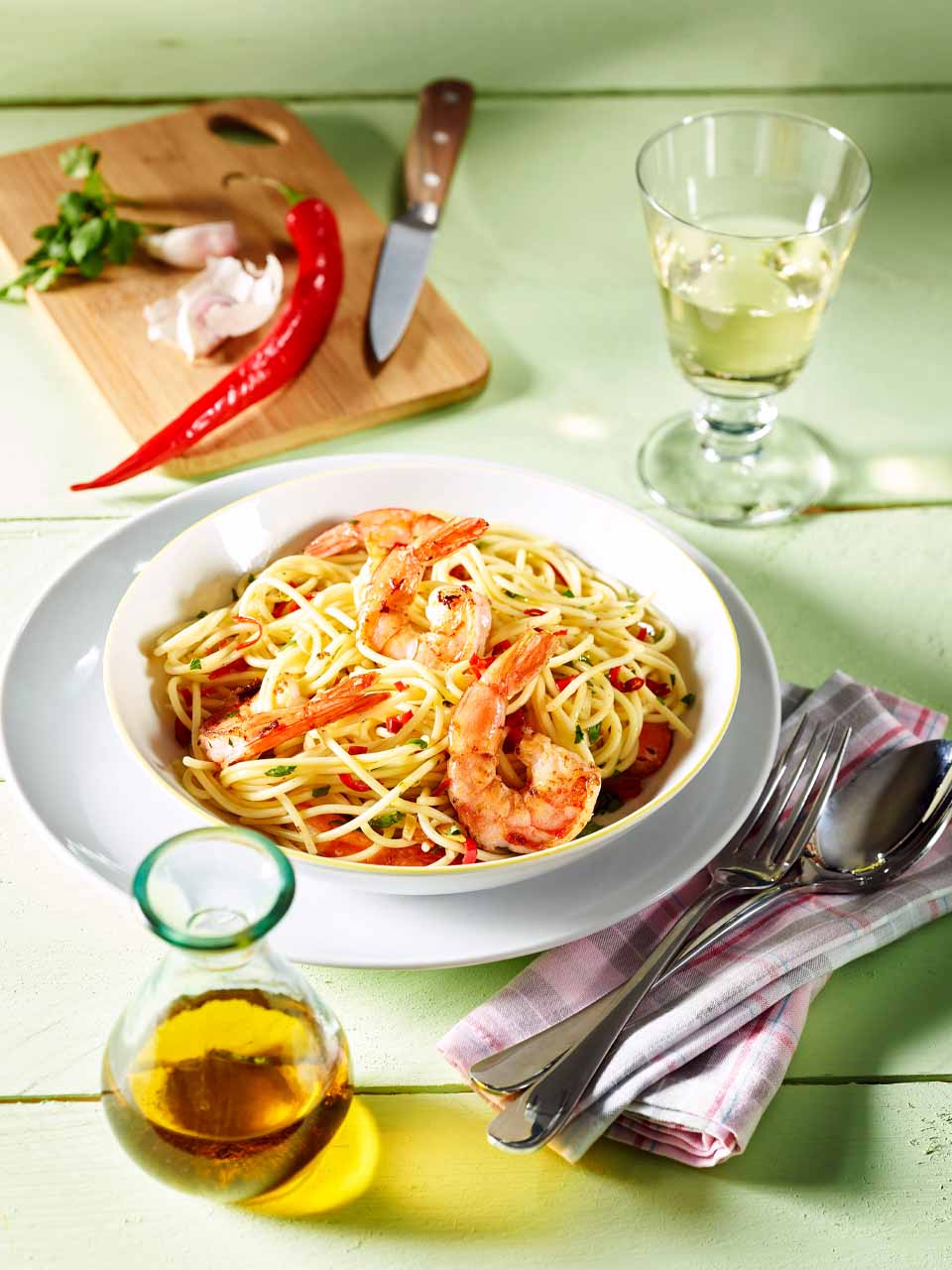 Rezept Spaghetti mit Garnelen